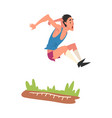 male athlete performing a long jump during a vector image