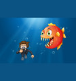 man scuba diving under the ocean vector image vector image