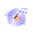 music cd vinyl icon with woman headphones vector image vector image