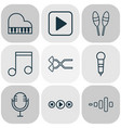 music icons set with microphone music shuffle vector image vector image
