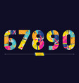 number colorful geometric style in a set 67890 vector image