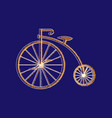 penny-farthing icon white isolated on green vector image