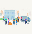 people characters on street with delivery service vector image
