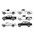 pickup truck silhouettes black pictures vector image vector image