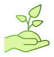 plant in hand flat icon sprout in hand green vector image vector image