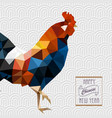 polygonal style rooster on white chinese pattern vector image vector image