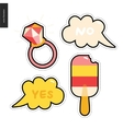 Popsicle and ring patches hand drawn set vector image