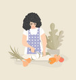pretty woman slices zucchini and other vegetables vector image