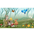 Rabbits and birds living in the forest vector image