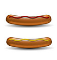 realistic boiled sausages with ketchup and mustard vector image vector image