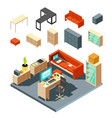 set of isometric office interior elements flat vector image