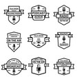 set podcast radio emblems with microphone vector image vector image