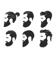 set silhouettes a bearded men hipster style vector image
