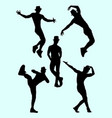 silhouette male dancer 03 vector image vector image