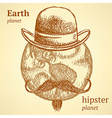 Sketch Earth planet in hipster style