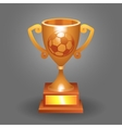 Soccer ball trophy bronze cup bacground vector image vector image