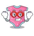 super hero cartoon baby clothes on hanger rack vector image
