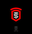 t and s monogram heraldic shield sport team logo vector image vector image