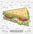 thin line icon sandwich For web design and vector image