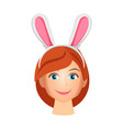 woman wearing bunny years vector image vector image