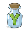 Y in bottle for scientific research letter in a vector image