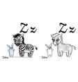 zebra alphabet letter z coloring page vector image vector image