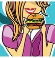 Girl eating a delicious cheeseburger vector image