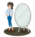 A girl with a jacket standing beside a mirror vector image vector image
