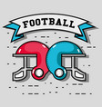 amrican football helmets with ribbon message vector image vector image