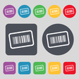 Barcode icon sign A set of 12 colored buttons Flat vector image