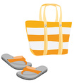 Beach bag and sandals vector image vector image