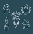beer festival oktoberfest set of linear icons vector image vector image