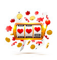 big win slots heart banner casino background vector image vector image