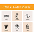 black icons of fast and healthy snacks vector image vector image