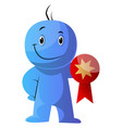 blue cartoon caracter hodling a medal on white vector image vector image