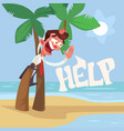 businessman character lost desert island vector image vector image