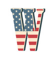 capital 3d letter w with american flag texture vector image vector image