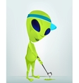 Cartoon alien golf