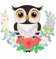 cartoon owl with flowers background vector image vector image