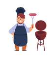 chef man holding sausage barbecue bbq grill vector image