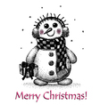 christmas card with snowman drawing by hand vector image vector image