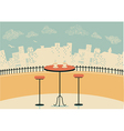 city cafe with table and cups of coffee vector image vector image