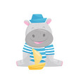 cute hippo sailor playing with toy ship lovely vector image