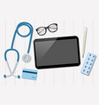 Doctor office with tablet and stethoscope vector image