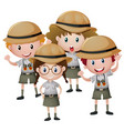four kids in safari outfit vector image vector image