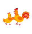 Funny hen and rooster are dancing flat vector image