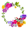 garland colorful realistic flower with flying vector image vector image