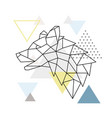 geometric wolf silhouette on triangle background vector image vector image
