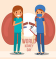 girl doctor surgeon kidney world campaign vector image