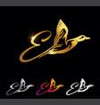 golden monogram duck initial letter d vector image vector image